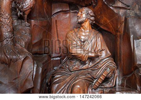 BELGIUM, LEUVEN - SEPTEMBER 05, 2014: Wooden sculptures in the Saint Peter's Church in Leuven. Flanders.