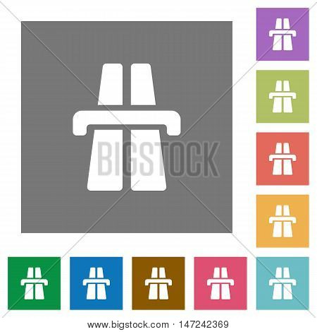 Highway flat icon set on color square background.