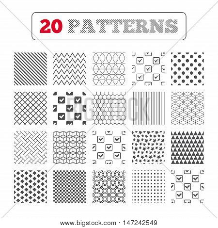 Ornament patterns, diagonal stripes and stars. Check icons. Checkbox confirm squares sign symbols. Geometric textures. Vector