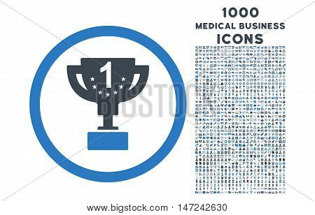 First Prize Cup rounded vector bicolor icon with 1000 medical business icons. Set style is flat pictograms, smooth blue colors, white background.