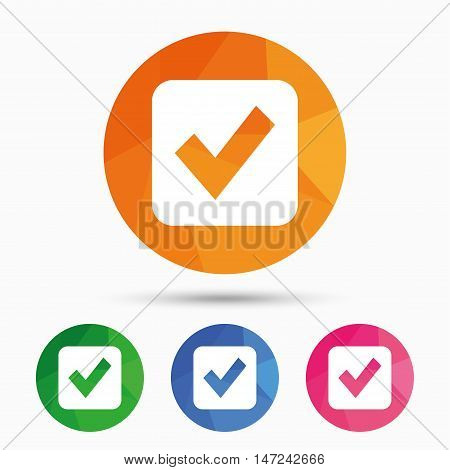 Check mark sign icon. Checkbox button. Triangular low poly button with flat icon. Vector