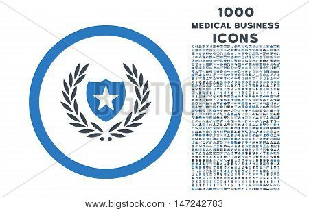 Glory Shield rounded vector bicolor icon with 1000 medical business icons. Set style is flat pictograms, smooth blue colors, white background.