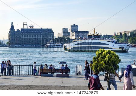 Istanbul Turkey - May 29 2016: The new ferry for Istanbul Kadikoy Pier. all designed by Turkish engineers manufactured in Ozata shipyard in Yalova and one of 3 million 373 thousand 500 euro cost of the ferry no balcony unlike the old ferry. The length of