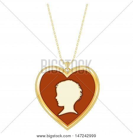Gold Heart Cameo Locket Necklace on a Chain. Vintage keepsake of a young child's silhouette isolated on white background.