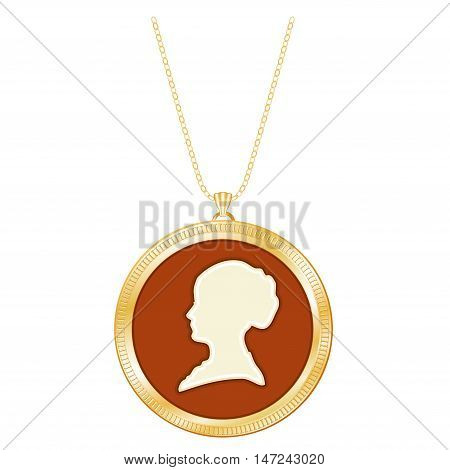 Gold Cameo Locket on a Chain of a Vintage Gentle Lady. Engraved round keepsake, antique silhouette, isolated on white background.