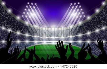 Stadium events spotlights and fans. Vector illustration.