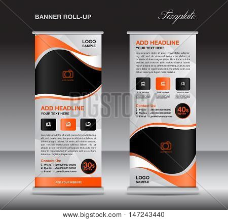 Orange roll up banner stand template, stand design,banner design, pull up,  flyer template, advertisement, polygon background, display layout
