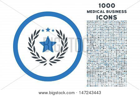 Proud Emblem rounded vector bicolor icon with 1000 medical business icons. Set style is flat pictograms, smooth blue colors, white background.