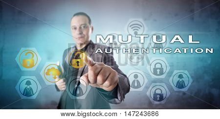 Friendly but busy corporate security manager is initiating MUTUAL AUTHENTICATION onscreen. Information technology concept and communications metaphor for computer and network access control methods.