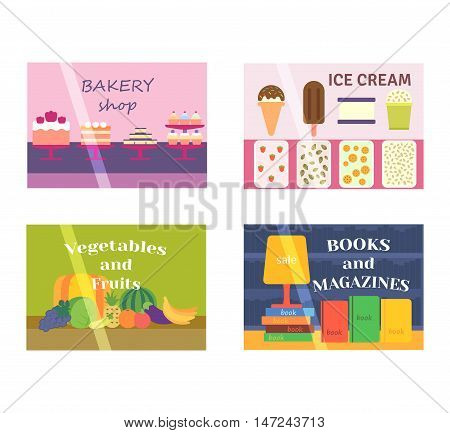 Set of vector flat design restaurants and shops facade icons. Includes bakery, ice cream shop, book shop facade and vegetable market facade.