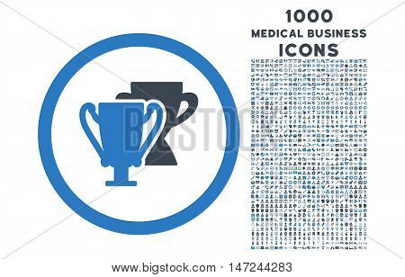 Trophy Cups rounded vector bicolor icon with 1000 medical business icons. Set style is flat pictograms, smooth blue colors, white background.