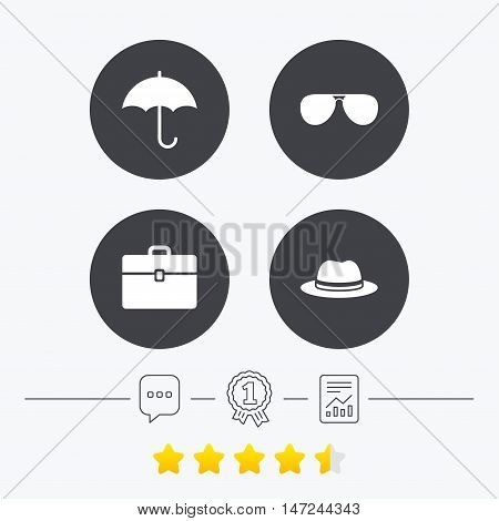 Clothing accessories icons. Umbrella and sunglasses signs. Headdress hat with business case symbols. Chat, award medal and report linear icons. Star vote ranking. Vector