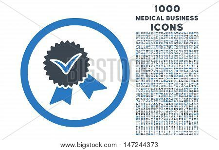 Validation Seal rounded vector bicolor icon with 1000 medical business icons. Set style is flat pictograms, smooth blue colors, white background.