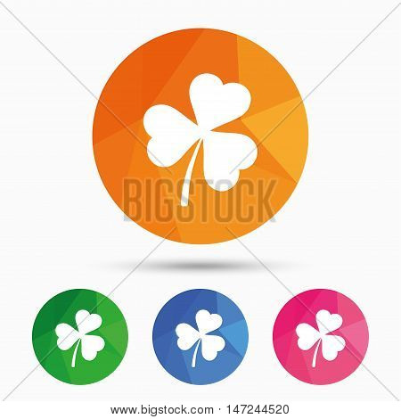 Clover with three leaves sign icon. Trifoliate clover. Saint Patrick trefoil symbol. Triangular low poly button with flat icon. Vector