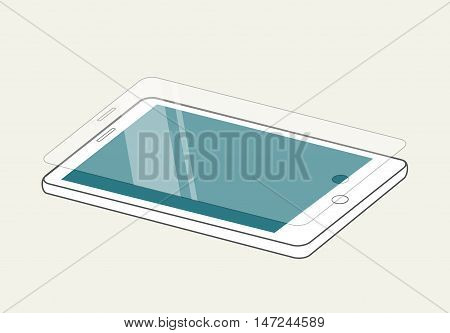 Smartphone display with protector glass or film. Mobile accessory vector illustration.