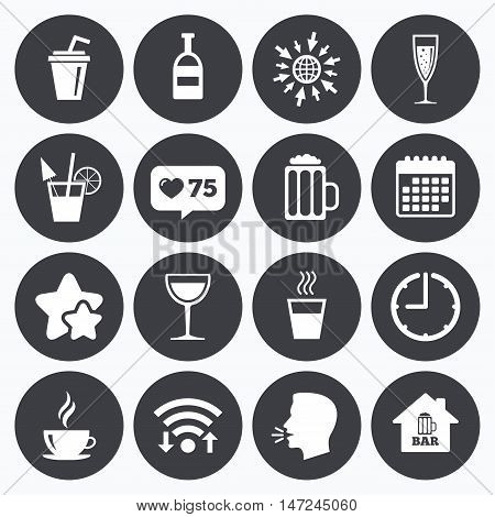 Calendar, wifi and clock symbols. Like counter, stars symbols. Coffee, tea icons. Beer, wine and cocktail signs. Soft and alcohol drinks symbols. Talking head, go to web symbols. Vector