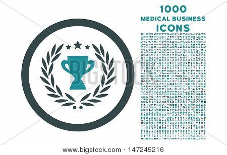 Glory rounded vector bicolor icon with 1000 medical business icons. Set style is flat pictograms, soft blue colors, white background.