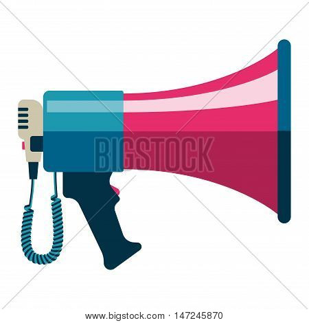Flat vector icon of megaphone for social media marketing concept. Megaphone icon announcement sound and speech bullhorn. Megaphone icon message communication loudspeaker.