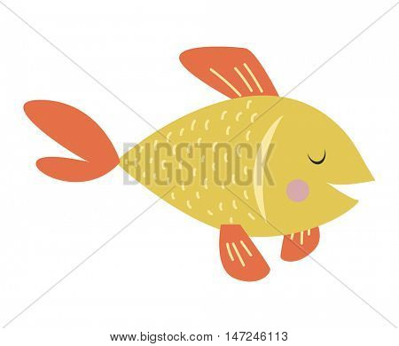Gold fish vector illustration.
