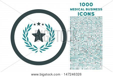 Proud Emblem rounded vector bicolor icon with 1000 medical business icons. Set style is flat pictograms, soft blue colors, white background.