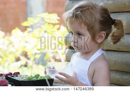Cute Little Boy Drinks Milk