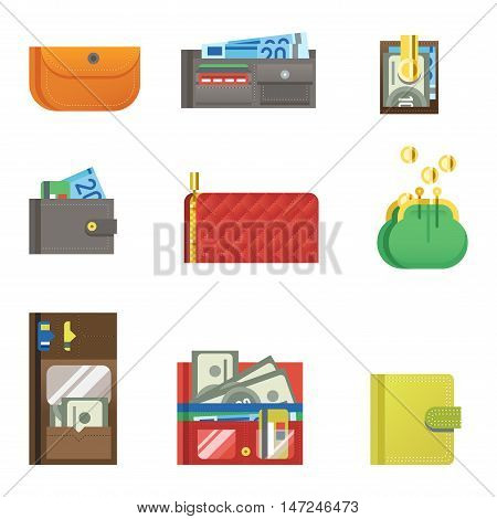 Open purse leather wallet with money shopping. Shopping buy change business currency leather open purse wallet. Financial one payment bag accessory object open purse trendy wallet vector.