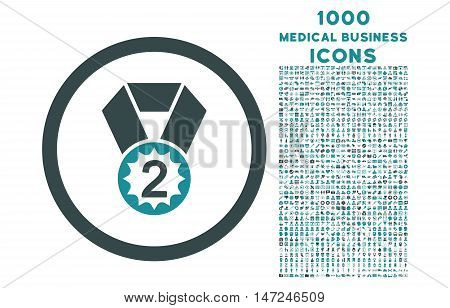 Second Place rounded vector bicolor icon with 1000 medical business icons. Set style is flat pictograms, soft blue colors, white background.