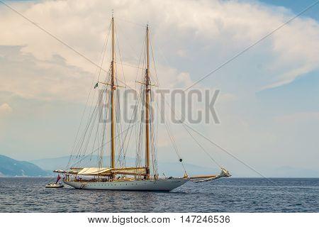 Boat into the sea near Portofino Italy