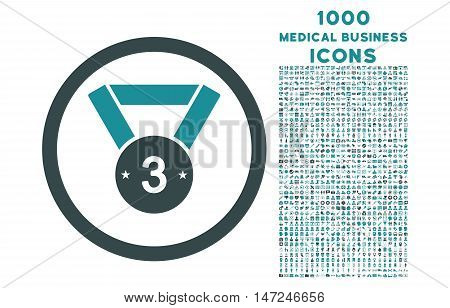 Third Medal rounded vector bicolor icon with 1000 medical business icons. Set style is flat pictograms, soft blue colors, white background.
