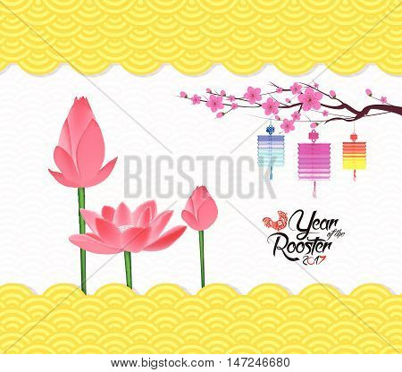 Chinese New Year Background with blossom and lantern