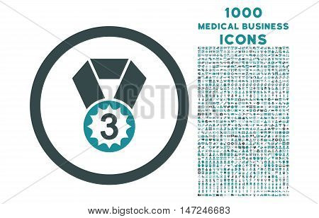 Third Place rounded vector bicolor icon with 1000 medical business icons. Set style is flat pictograms, soft blue colors, white background.