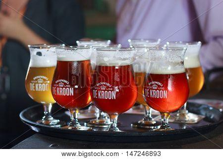 BELGIUM; NEERIJSE - SEPTEMBER 05; 2014: Tasting different beers in the family brewery De Kroon in Belgium. Flanders.