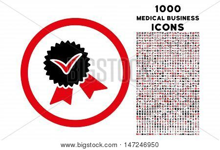 Validation Seal rounded vector bicolor icon with 1000 medical business icons. Set style is flat pictograms, intensive red and black colors, white background.