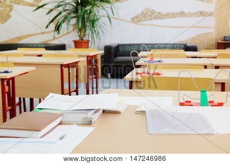 Moscow, Russia - September, 13, 2016: Interior of an empty school class in Moscow, Russia