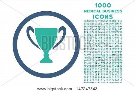 Award Cup rounded vector bicolor icon with 1000 medical business icons. Set style is flat pictograms, cobalt and cyan colors, white background.