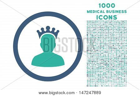 King rounded vector bicolor icon with 1000 medical business icons. Set style is flat pictograms, cobalt and cyan colors, white background.
