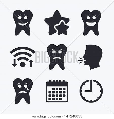 Tooth happy, sad and crying faces icons. Dental care signs. Healthy or unhealthy teeth symbols. Wifi internet, favorite stars, calendar and clock. Talking head. Vector