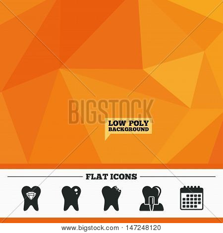 Triangular low poly orange background. Dental care icons. Caries tooth sign. Tooth endosseous implant symbol. Tooth crystal jewellery. Calendar flat icon. Vector