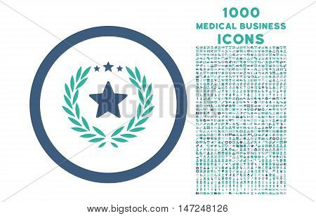 Proud Emblem rounded vector bicolor icon with 1000 medical business icons. Set style is flat pictograms, cobalt and cyan colors, white background.