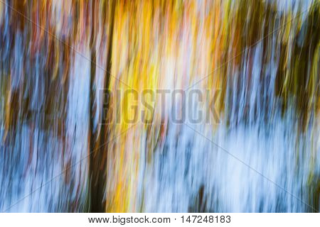 Abstract landscape of bright colorful autumn forest with fall foliage and blue sky.  Image produced by camera motion.