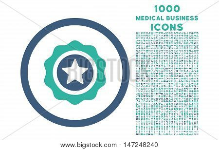 Reward Seal rounded vector bicolor icon with 1000 medical business icons. Set style is flat pictograms, cobalt and cyan colors, white background.