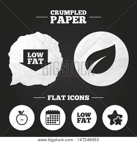 Crumpled paper speech bubble. Low fat arrow icons. Diets and vegetarian food signs. Apple with leaf symbol. Paper button. Vector