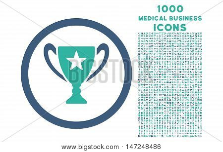 Trophy Cup rounded vector bicolor icon with 1000 medical business icons. Set style is flat pictograms, cobalt and cyan colors, white background.