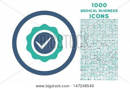 Valid rounded vector bicolor icon with 1000 medical business icons. Set style is flat pictograms, cobalt and cyan colors, white background.