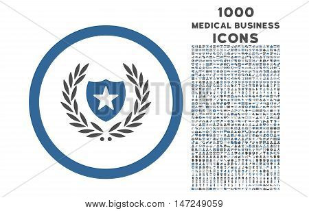Glory Shield rounded vector bicolor icon with 1000 medical business icons. Set style is flat pictograms, cobalt and gray colors, white background.