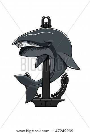 Cachalot whale and Anchor shield. Nautical heraldic icon for t-shirt, sport team mascot shield