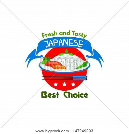 Japanese food restaurant icon. Stylized emblem of japan flag, steamed rice plate, seafood sashimi, chopsticks, stars, red ribbon, spicy chili pepper. Oriental cuisine poster for eatery menu, signboard, poster, leaflet, flyer