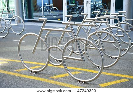 OSLO, NORWAY - AUGUST 27, 2016: The Bike Racks at Barcode Project in Oslo.