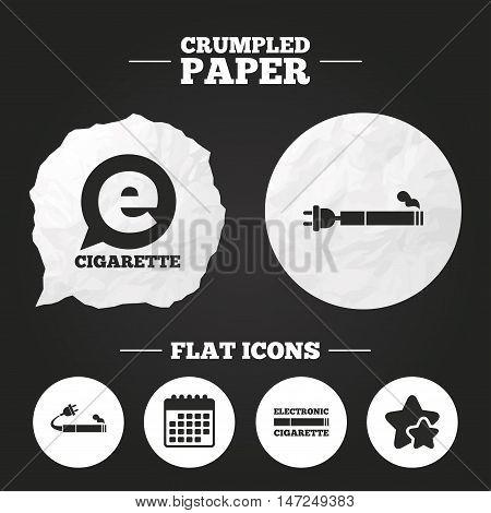 Crumpled paper speech bubble. E-Cigarette with plug icons. Electronic smoking symbols. Speech bubble sign. Paper button. Vector