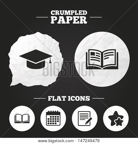 Crumpled paper speech bubble. Pencil with document and open book icons. Graduation cap symbol. Higher education learn signs. Paper button. Vector